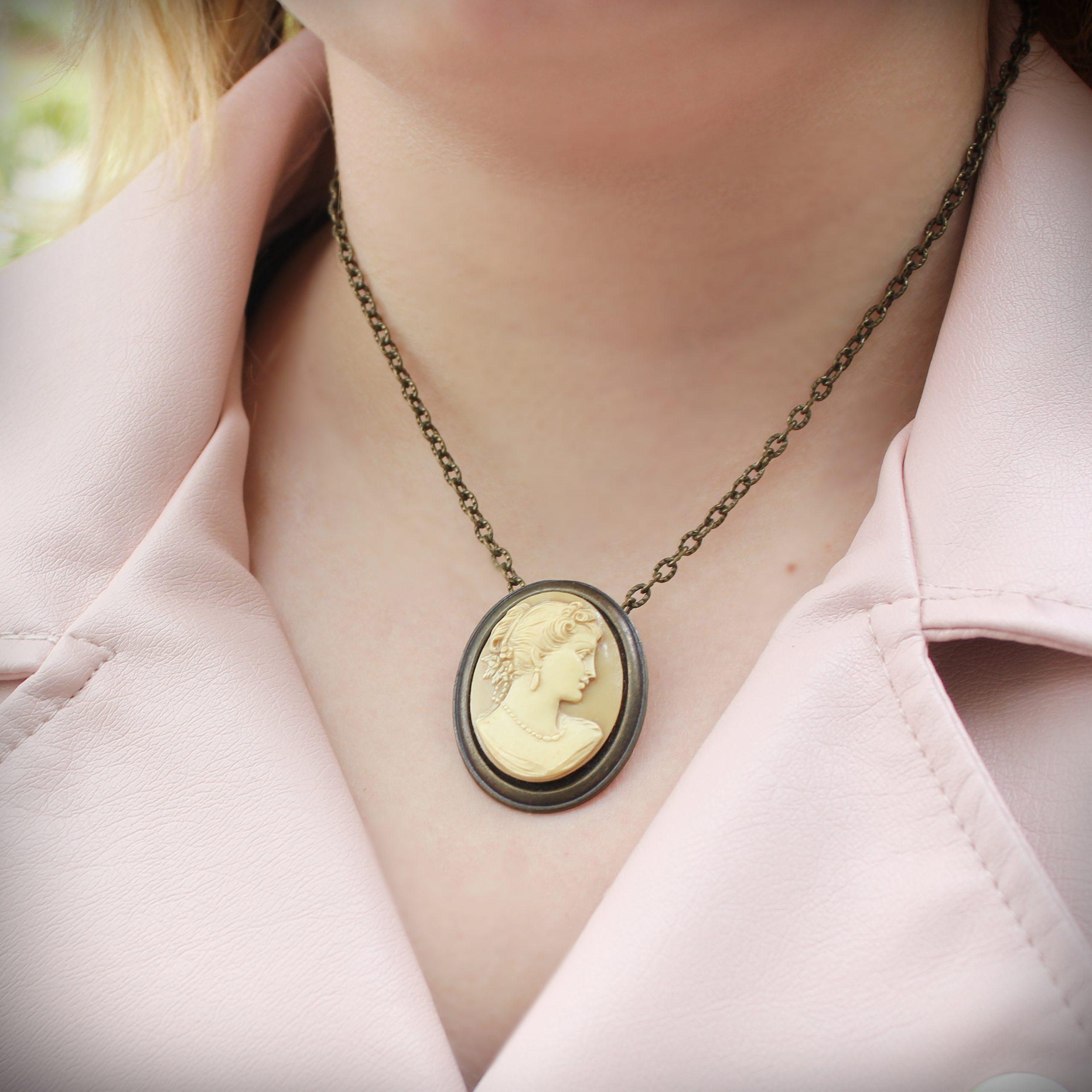 cameo pin pendant cream beige