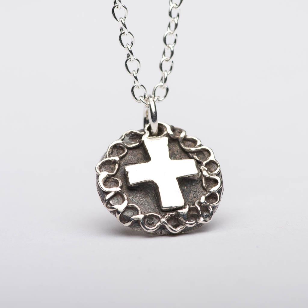 Cross Rose Pendant Necklace Sterling Silver Women Jewelry