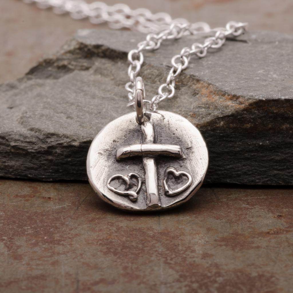 Cross Double Hearts Pendant Necklace Sterling Silver Women Jewelry