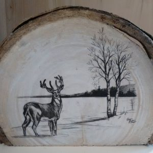 Deer drawing on live edge wood slice