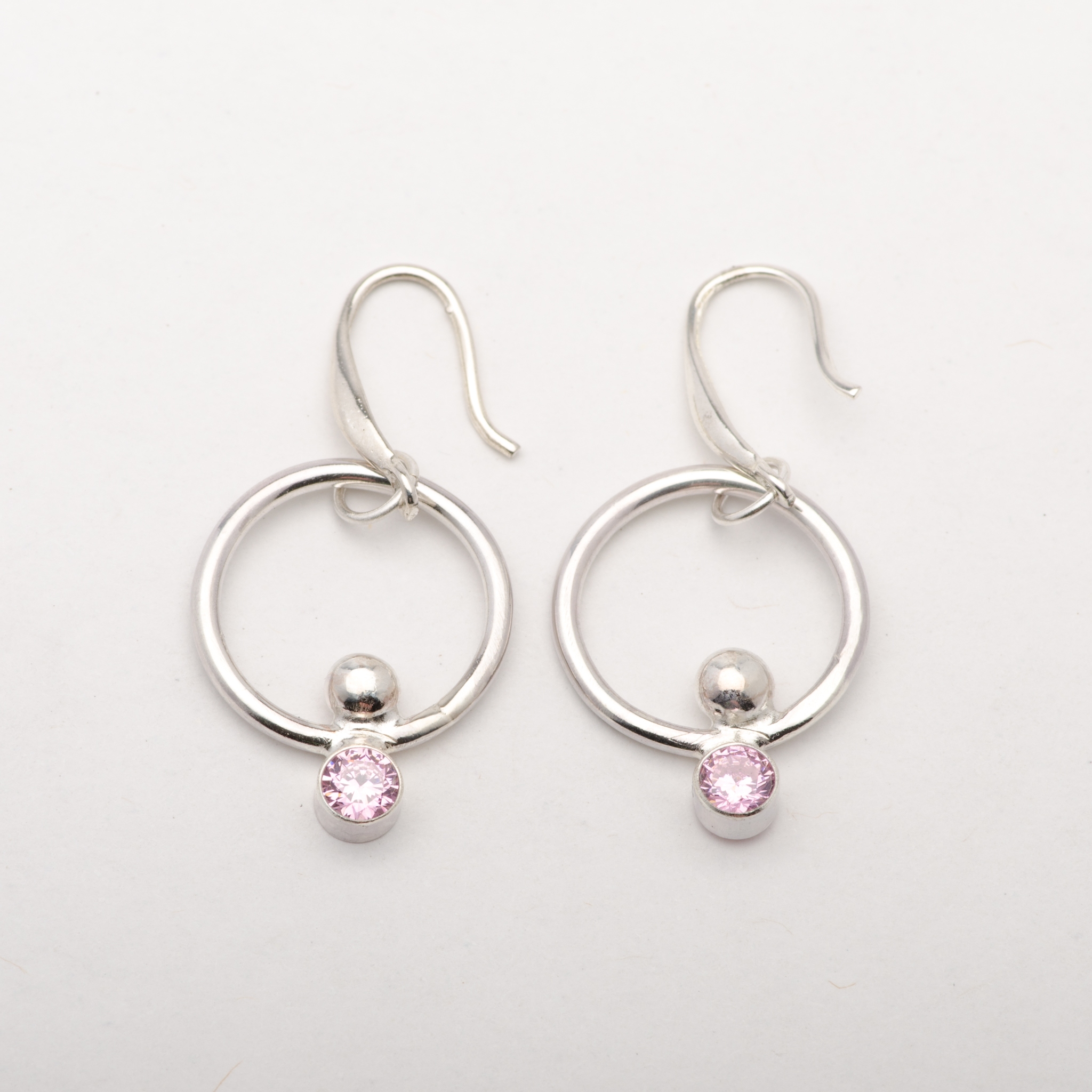 Earrings Round Geometric Sterling Silver Pink Zirconia Women Jewelry