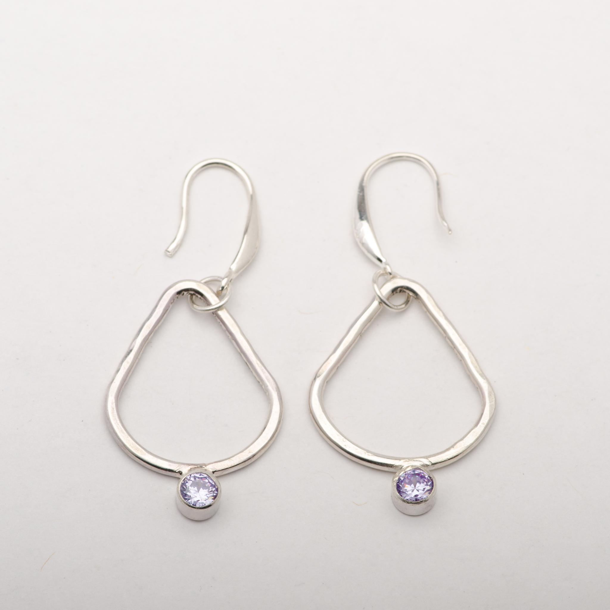 Earrings Triangle Geometric Sterling Silver Lavender Zirconia Women Jewelry