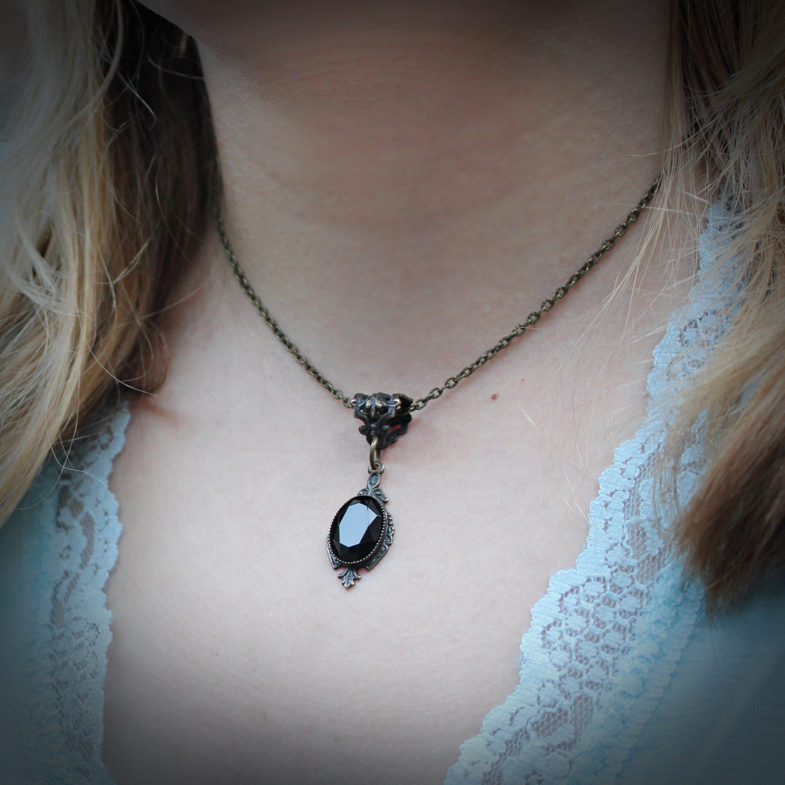 black onyx necklace earrings