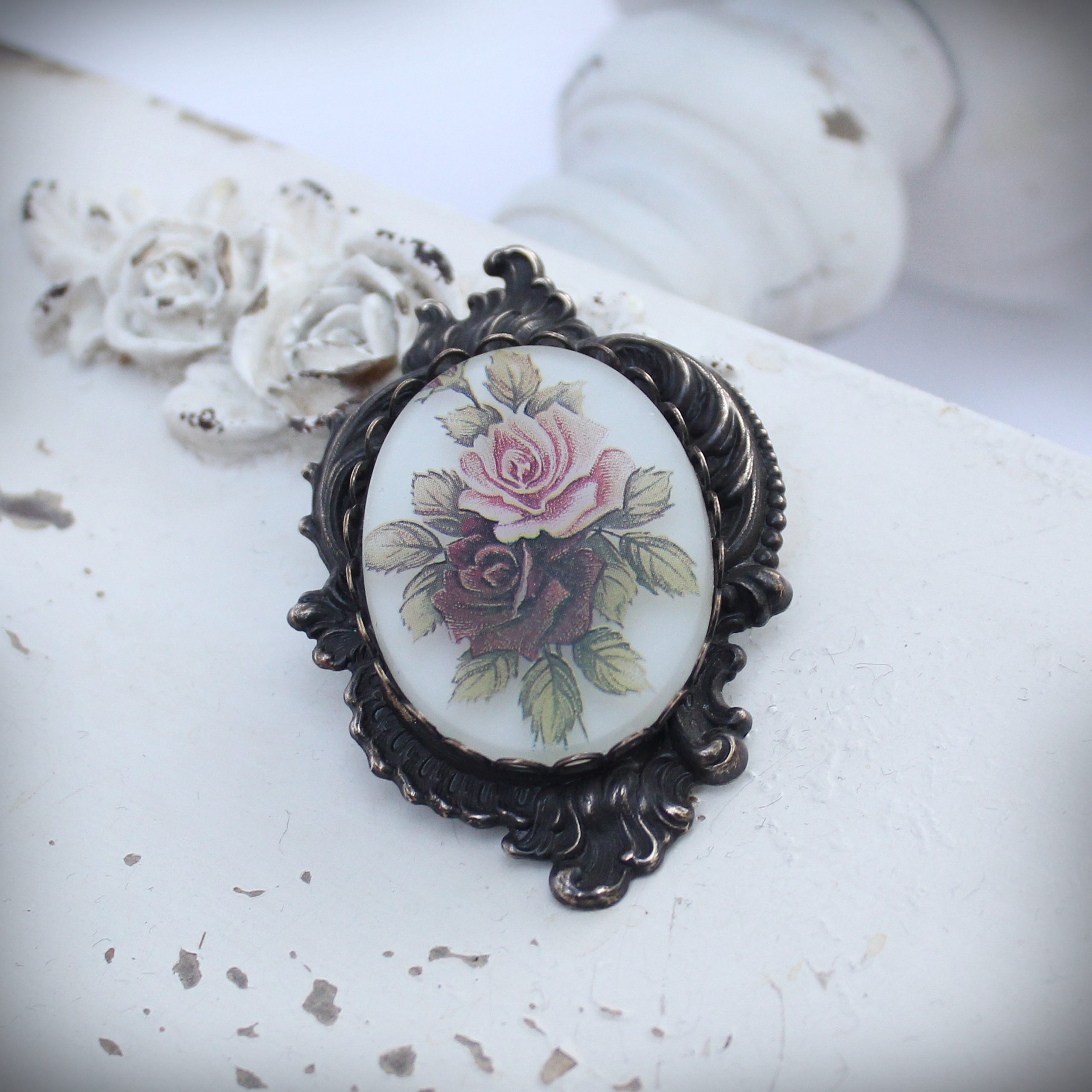 Frosted Floral Large Art Nouveau Brooch and Pendant