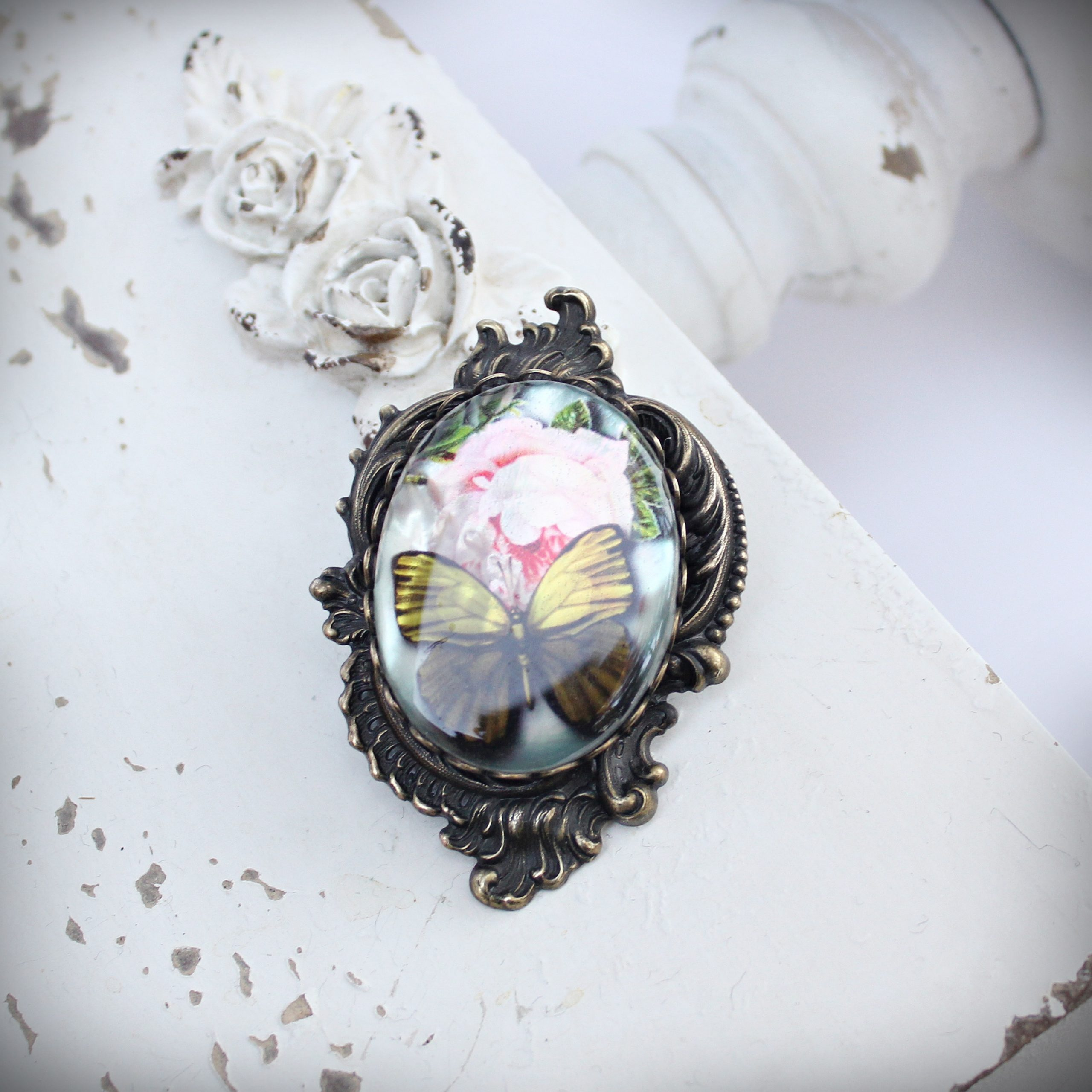 Large Green Butterfly Brooch and Pendant on Mother of Pearl