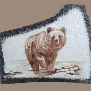 Grizzly bear drawing on stone