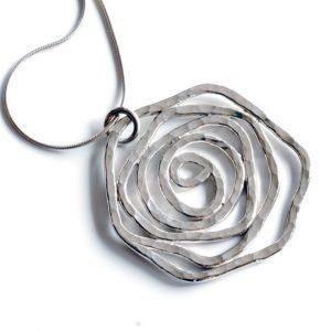 Sterling silver large Rose Pendant by Melissa Pedersen