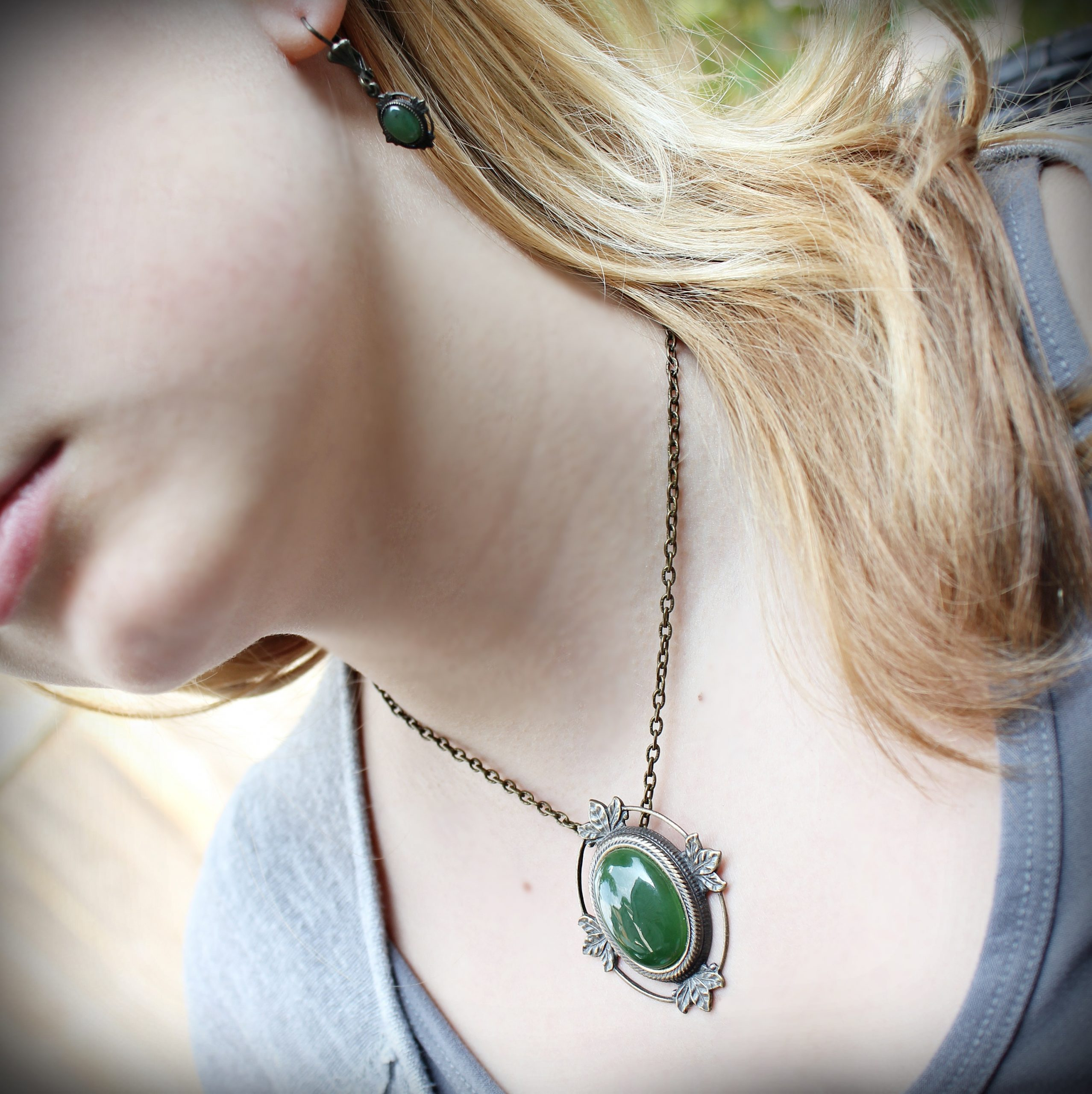 Canadian Jade Brooch Pendant and Earrings