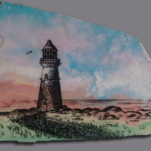lighthouse painting on stone for decorative use