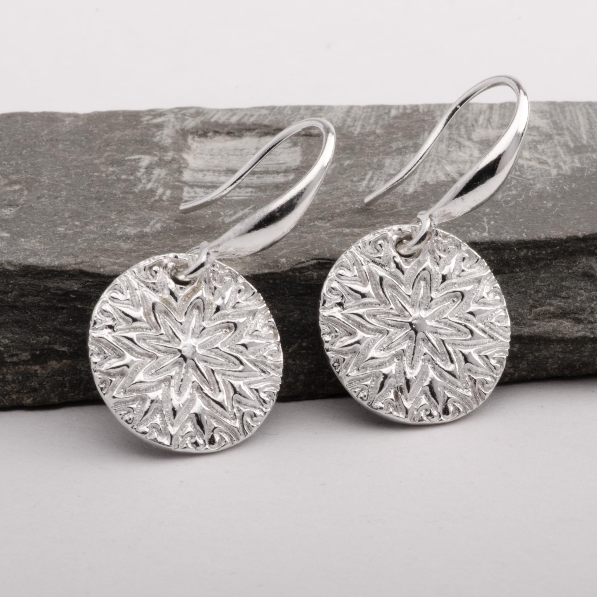 Mandala Star Silver Earrings