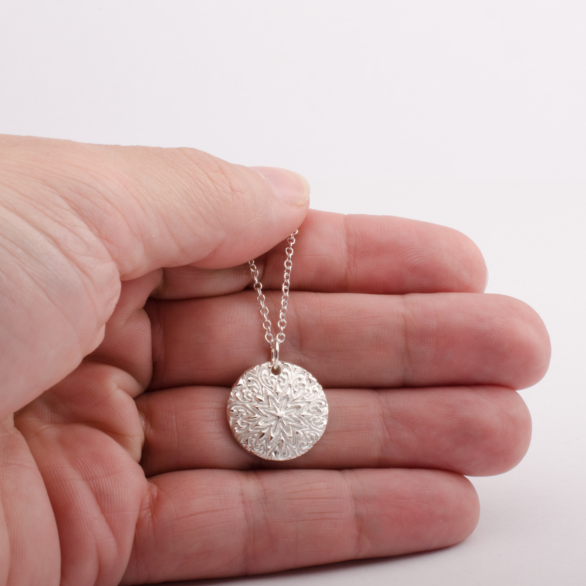 Mandala Star Silver Pendant Necklace