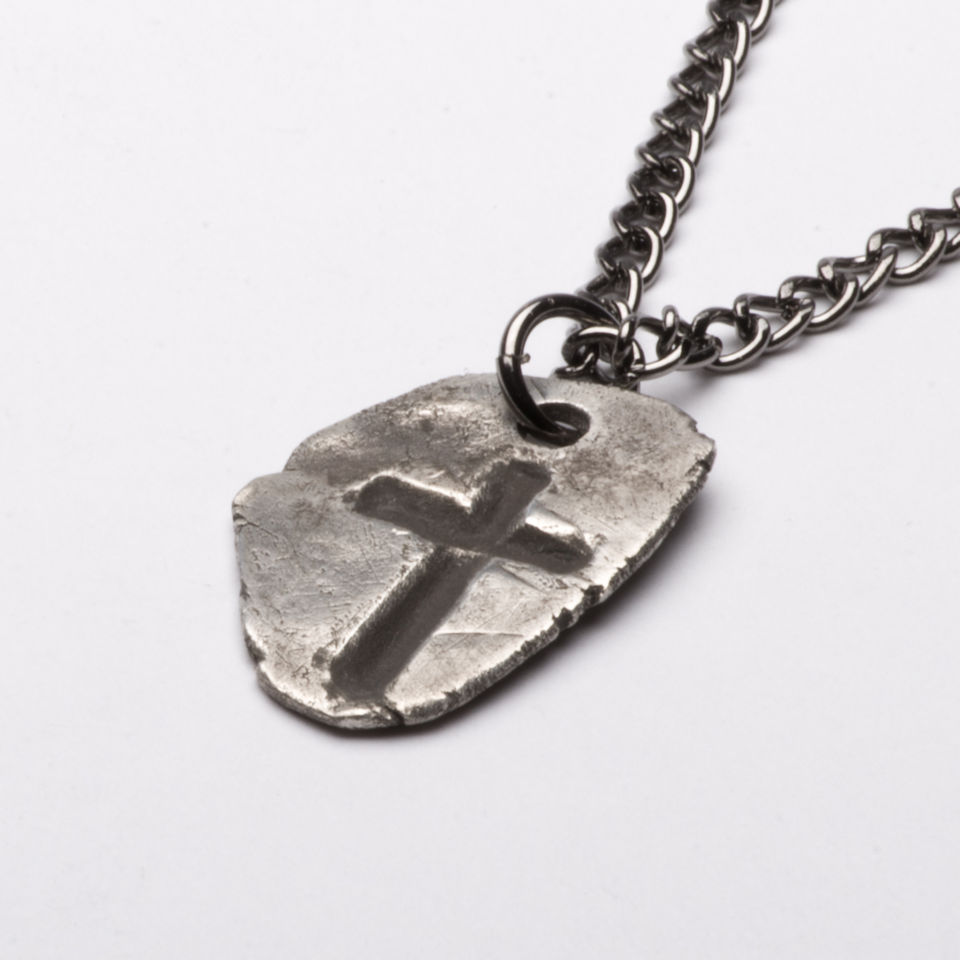 Medieval Cross Gothic Imprint Pendant Necklace Sterling Silver Mens Jewelry