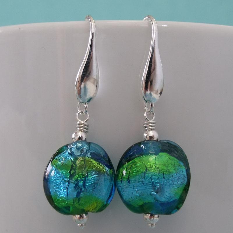 ocean glass bead earrings