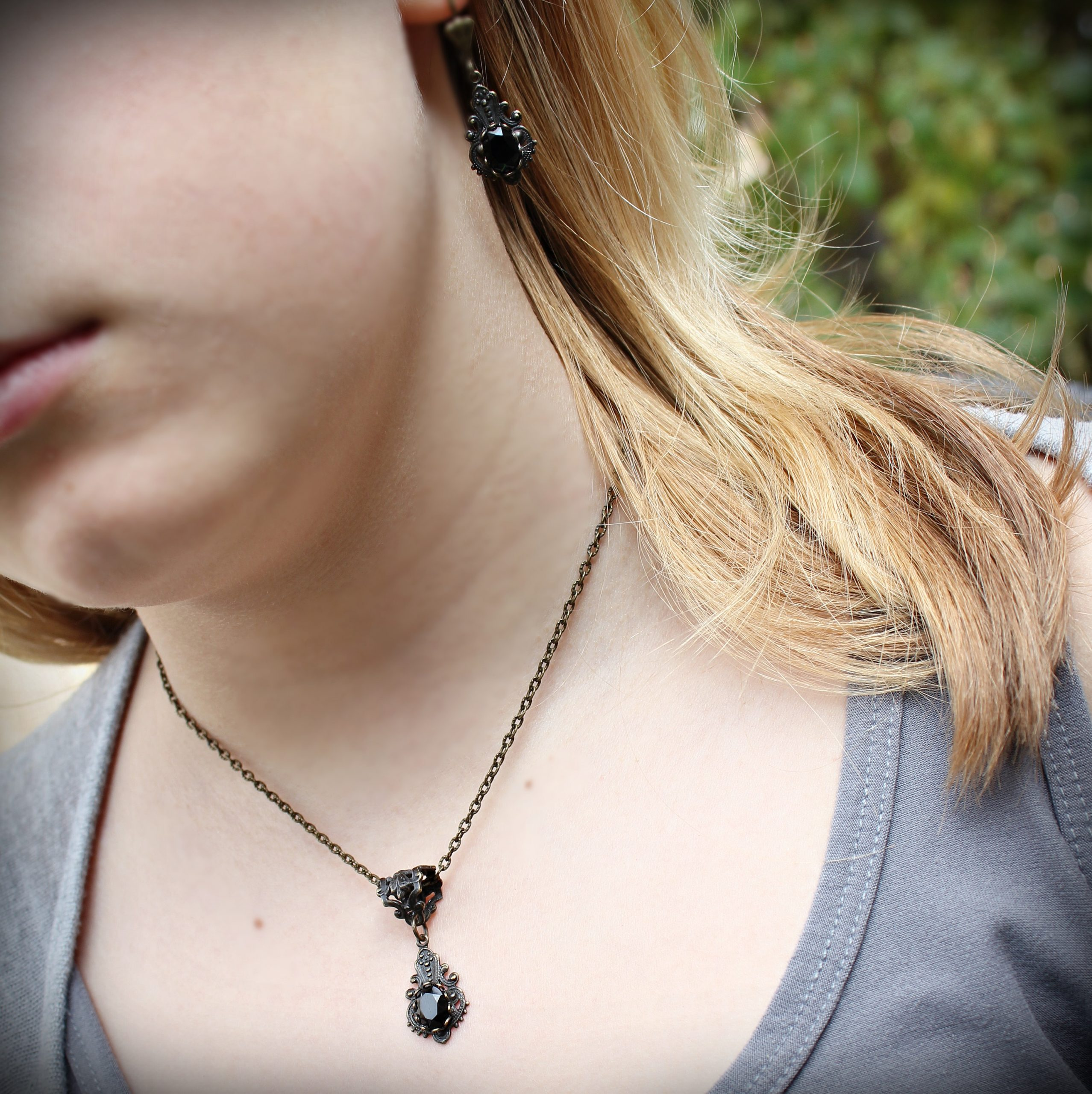 small faceted black onyx earrings necklace set