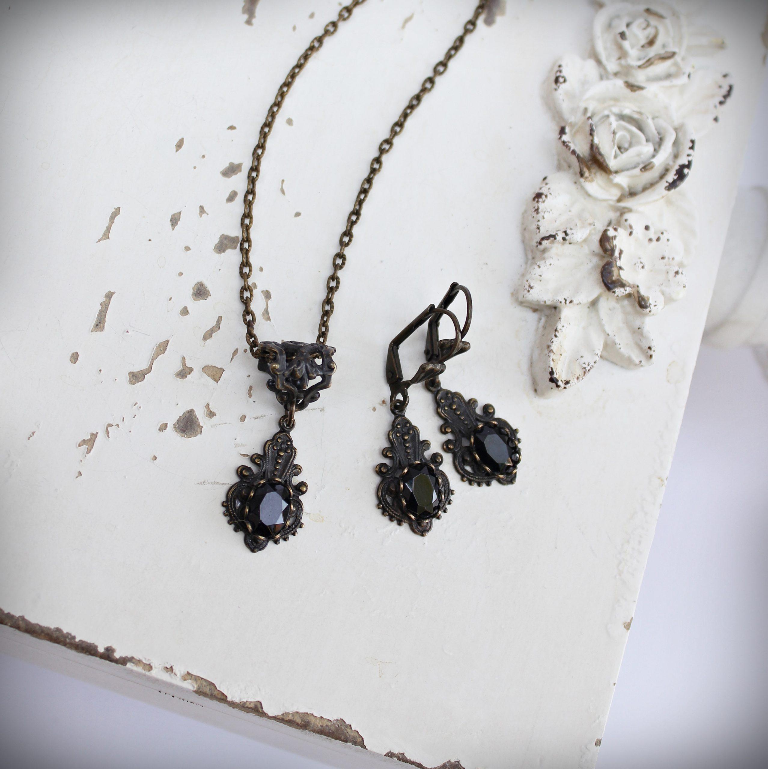 classic black onyx necklace earrings set