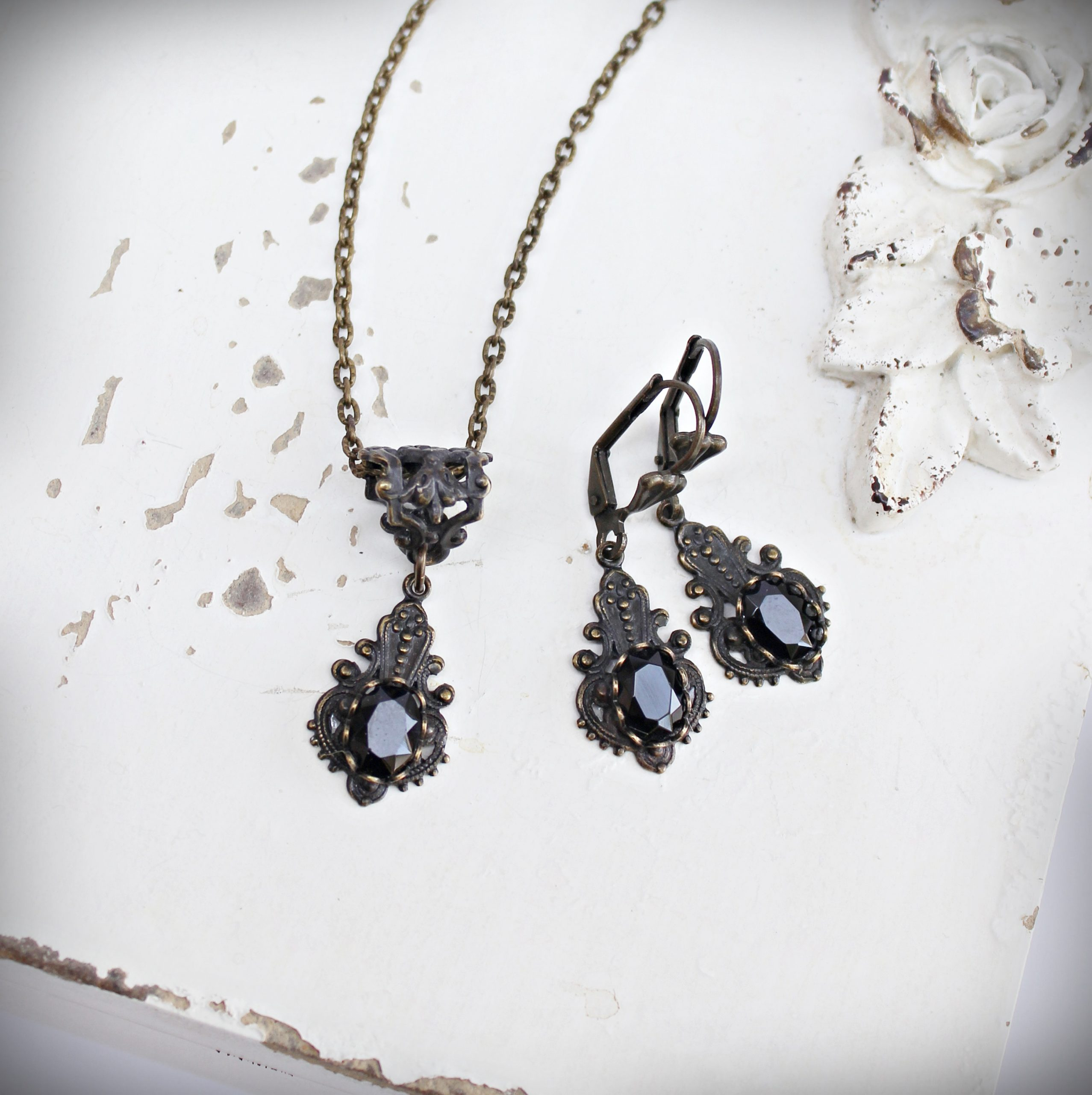 petite faceted black onyx earrings necklace