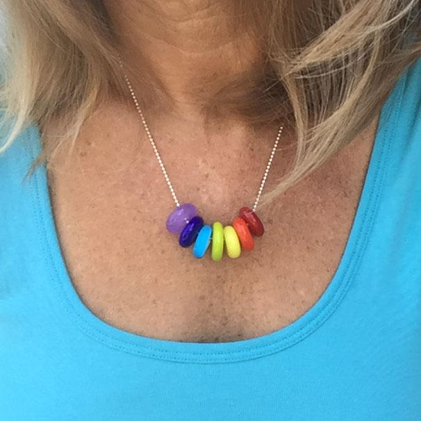 rainbow rings necklace by sailorgirl jewelry
