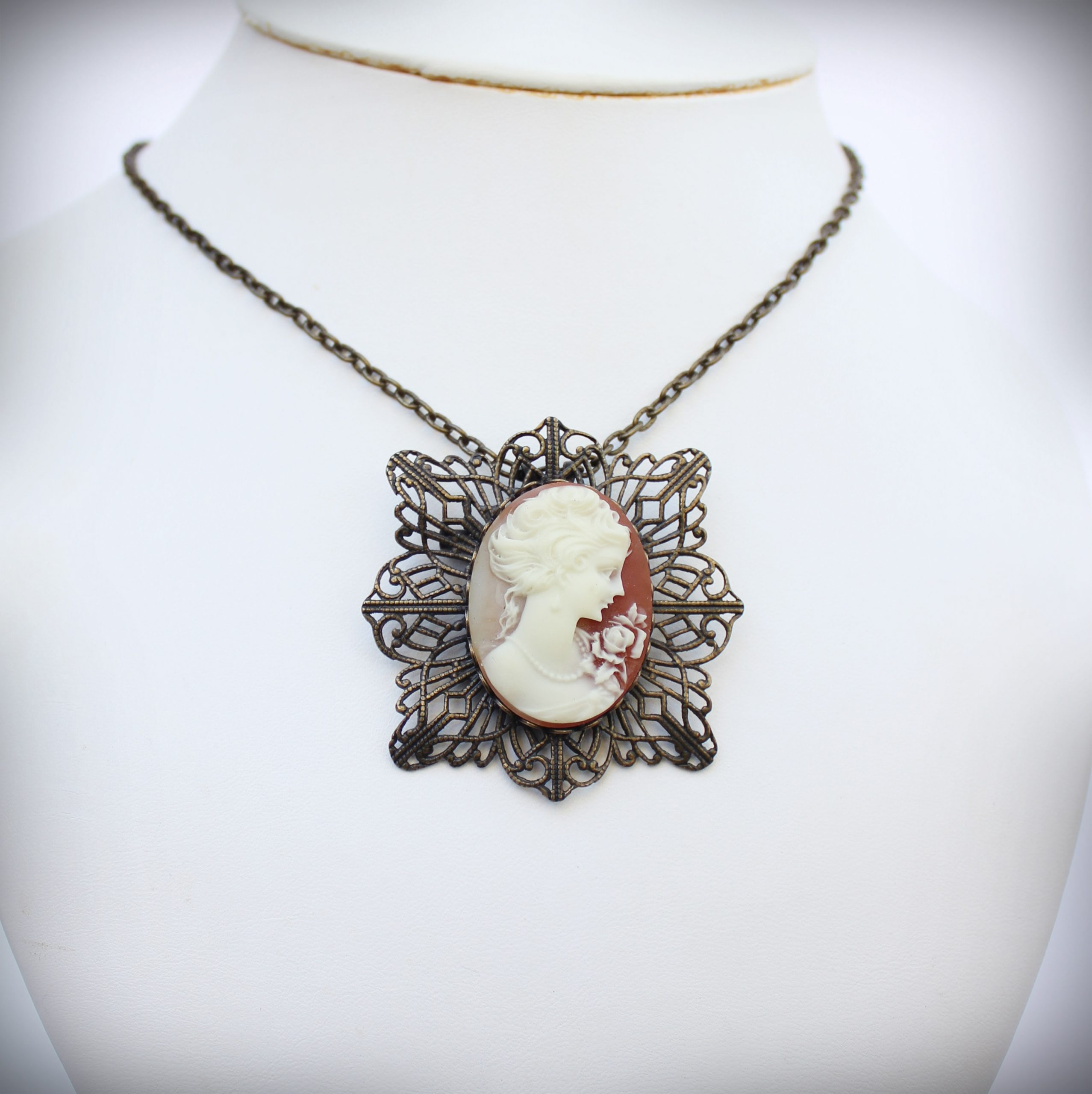 Classic Cameo Brooch and Pendant in Traditional Shell Colour