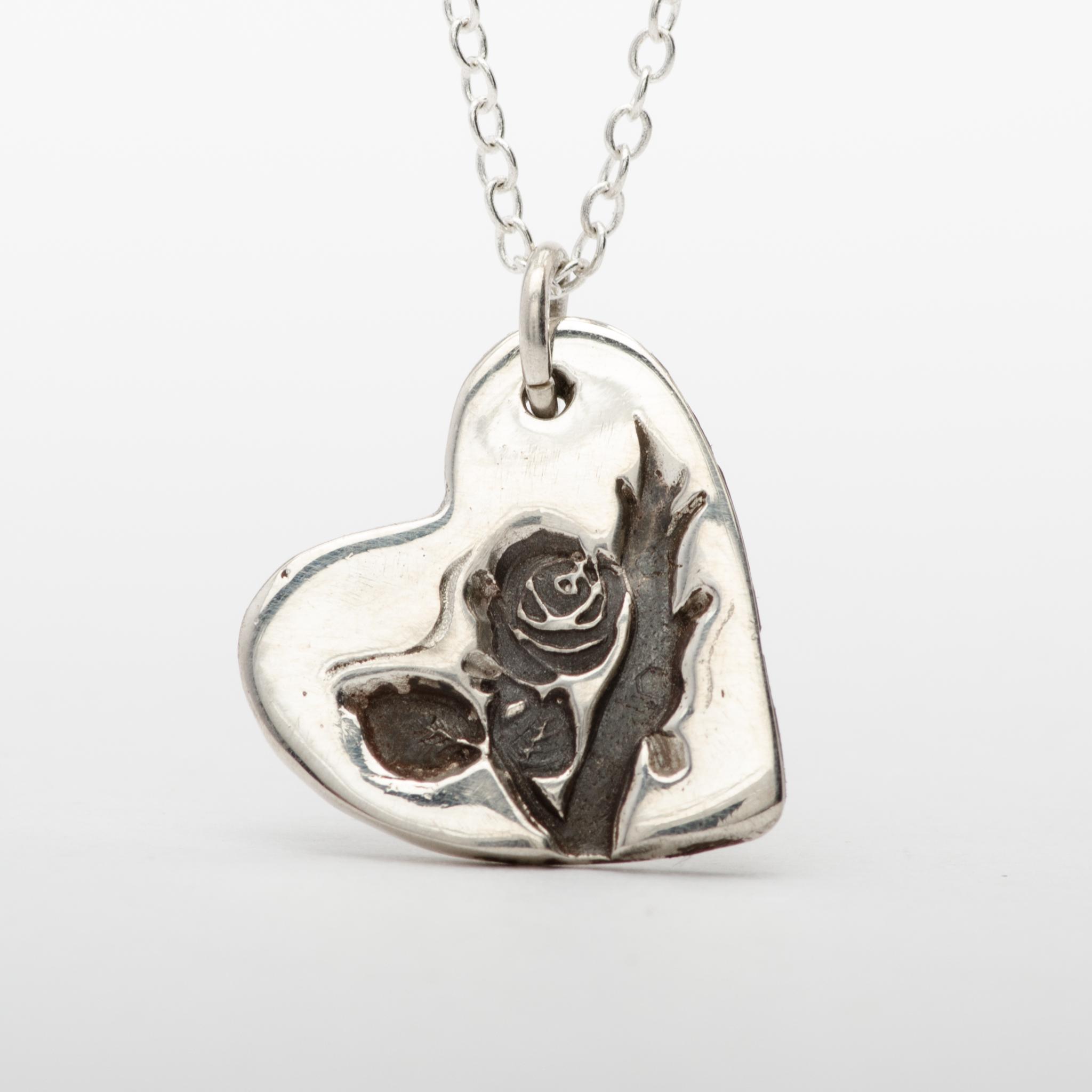 Silver Heart Rose Pendant Necklace