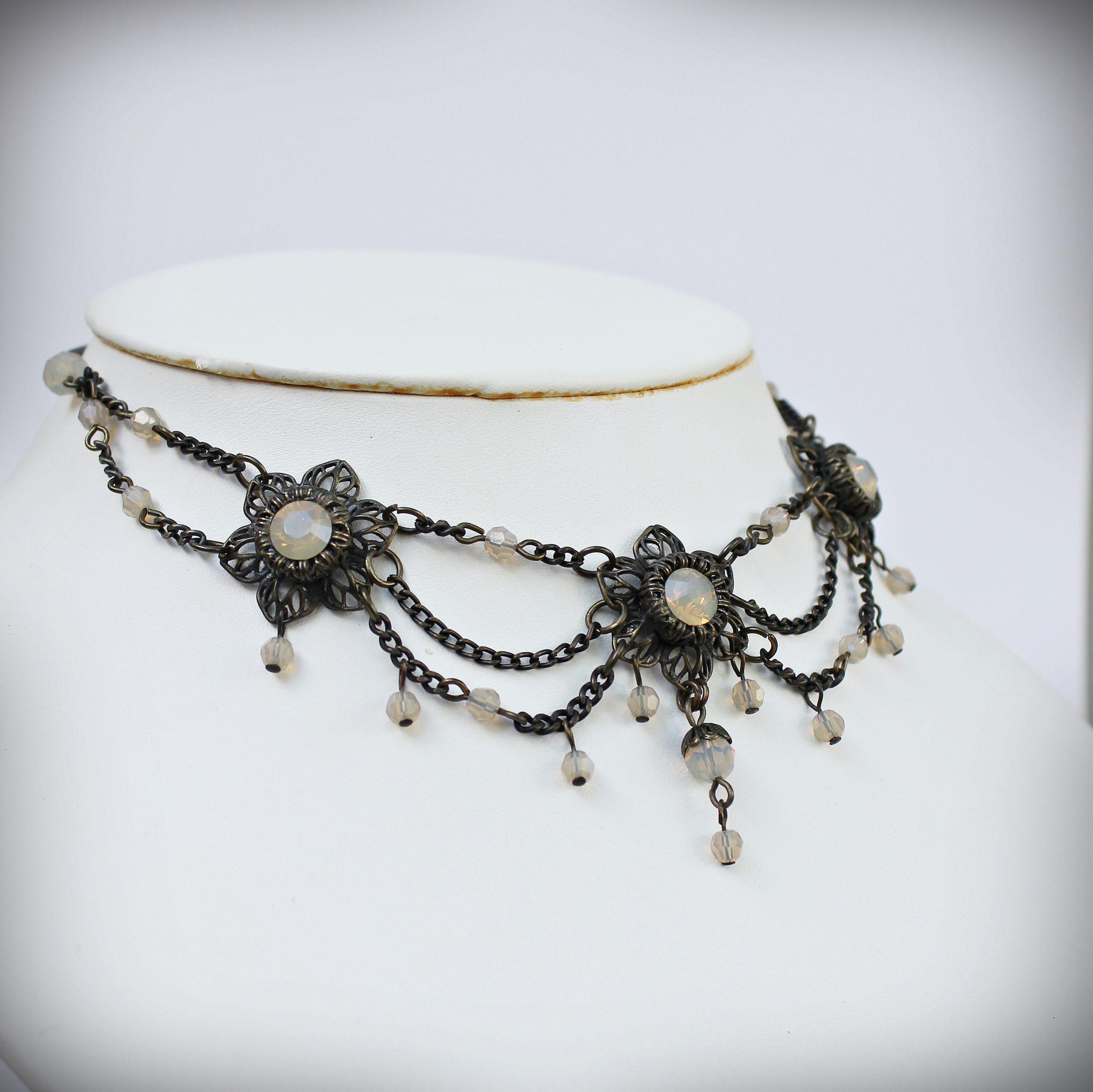 swarovski collar necklace sand opal