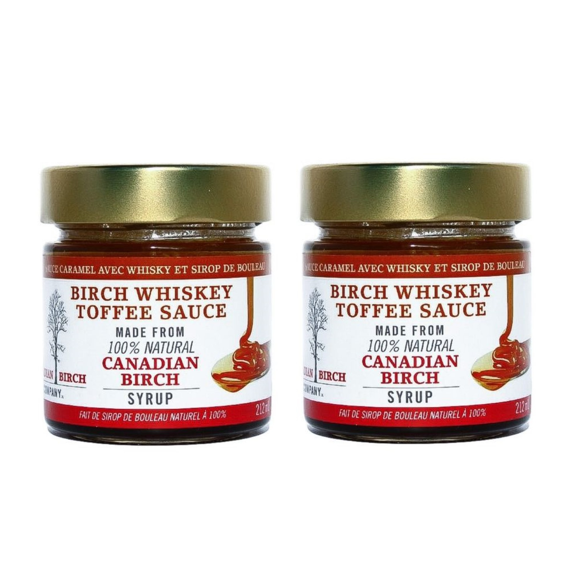 2 Jars of Birch Whiskey Toffee Sauce 212 ml size has a gold colored lid.