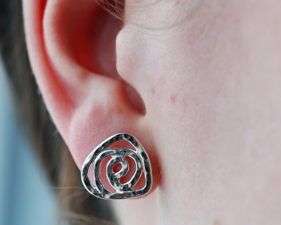 Flat sterling silver rose studs