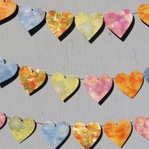 Ecoprint Heart Garland