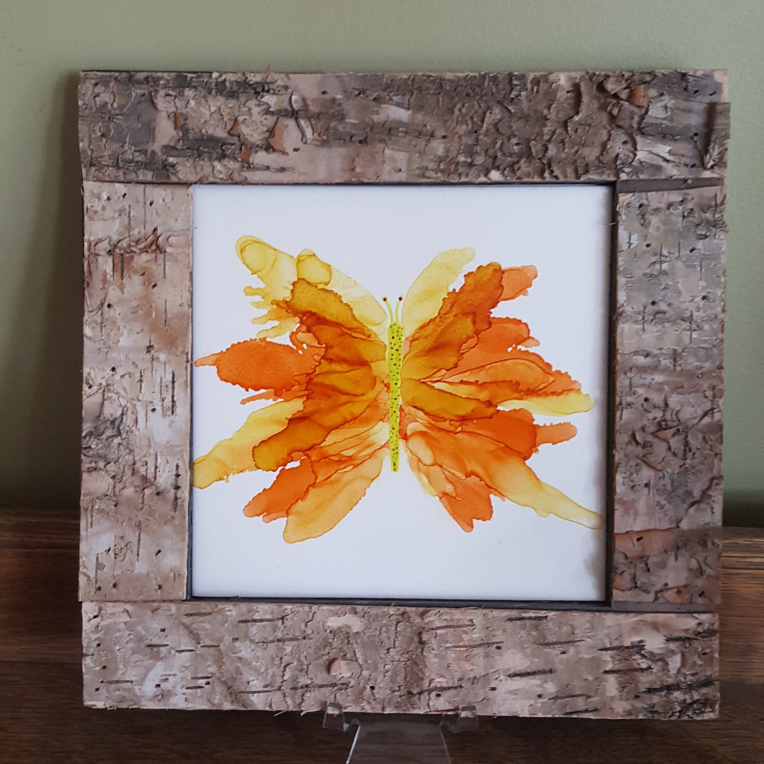 Butterfly Painting, Birch Frame