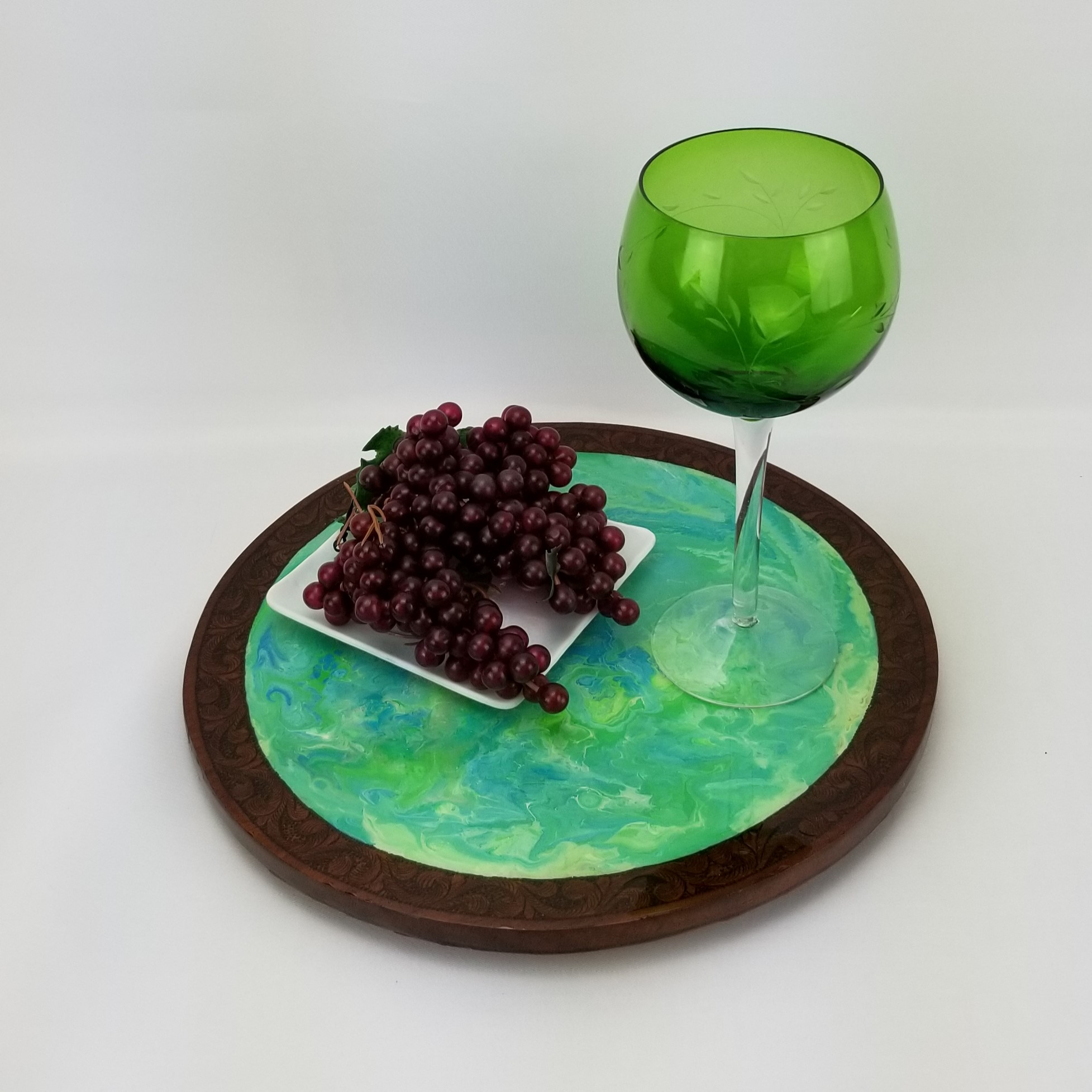 Wooden Acrylic Painted Tray