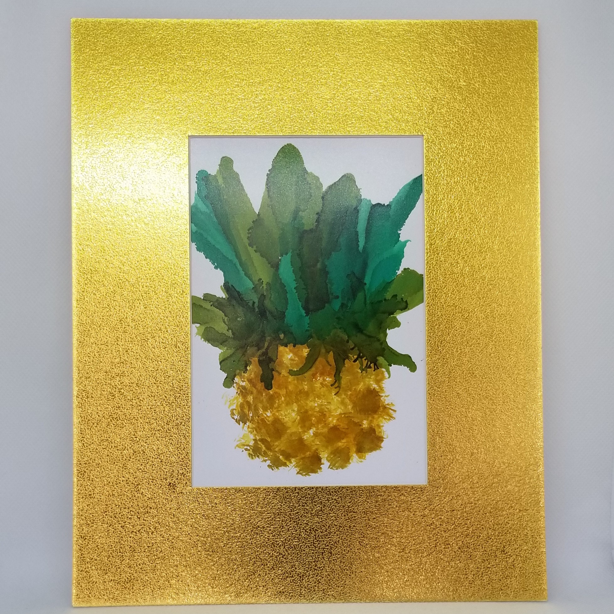 Alcohol Ink Pineapple Painting