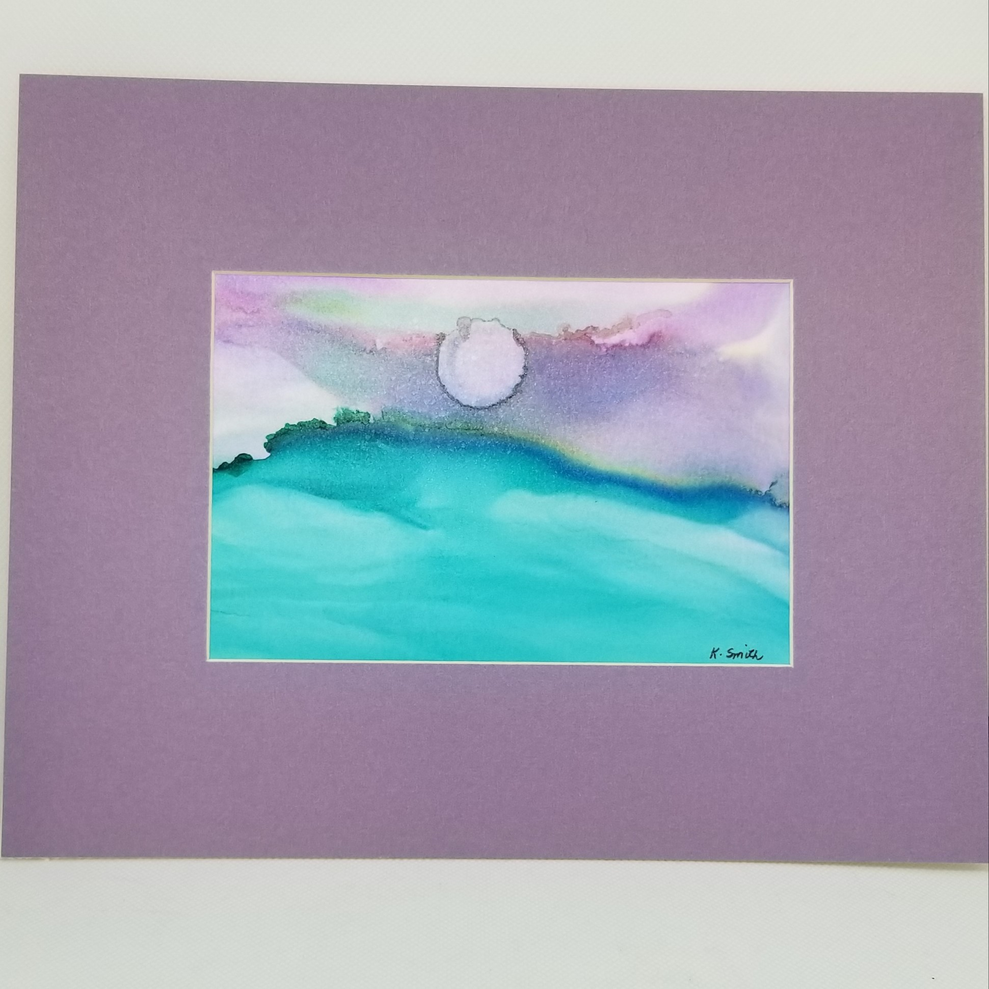 Alcohol Ink Moonrise Painting