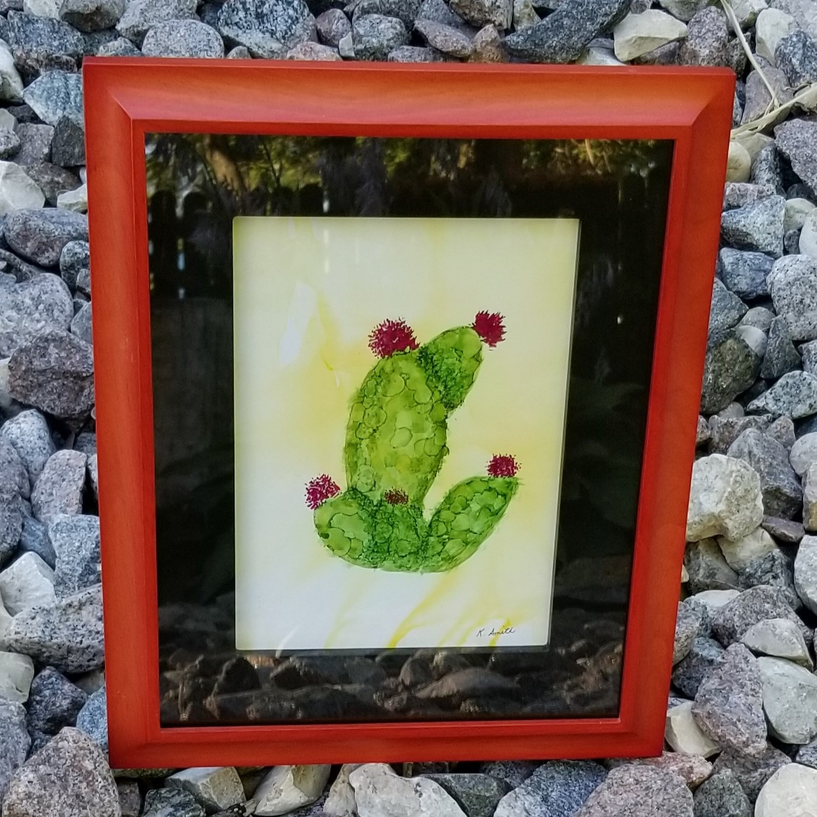 Cactus in Bloom Painting -Framed