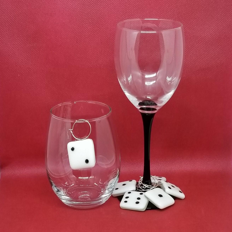 Glass Dice Wine Markers