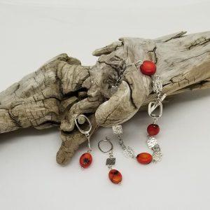 Sterling, Stone Bracelet /Earrings