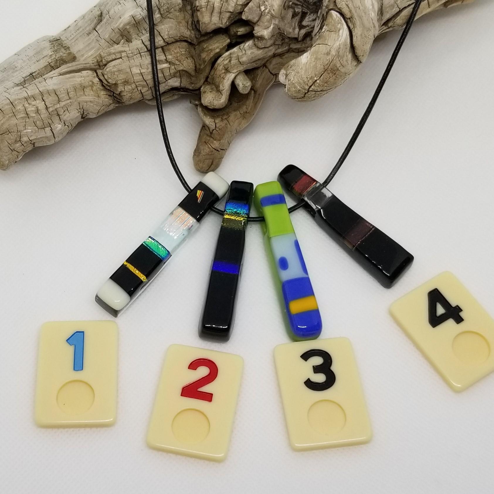Rectangular Layered Glass Bar Necklace