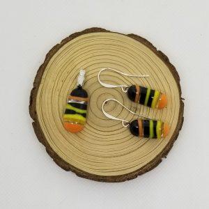 Striped Glass Jewelry set with Fish Bail