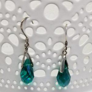Faceted teal 925 Drop Earrings