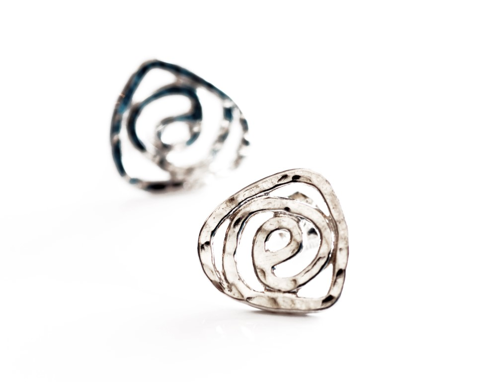 Sterling silver swirl rose studs