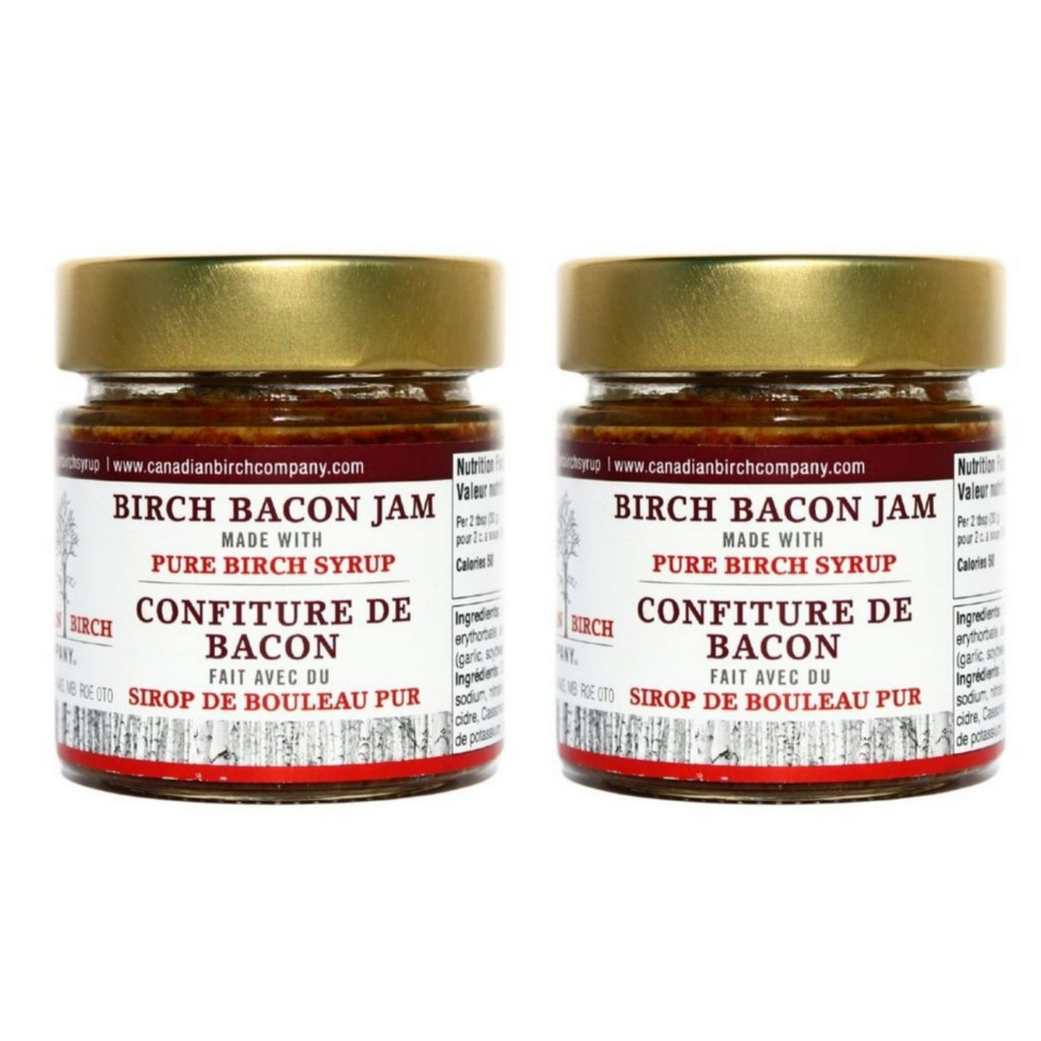 Two jarz of Birch Bacon Jam 212 ml size is pictured. Lid is gold in color.