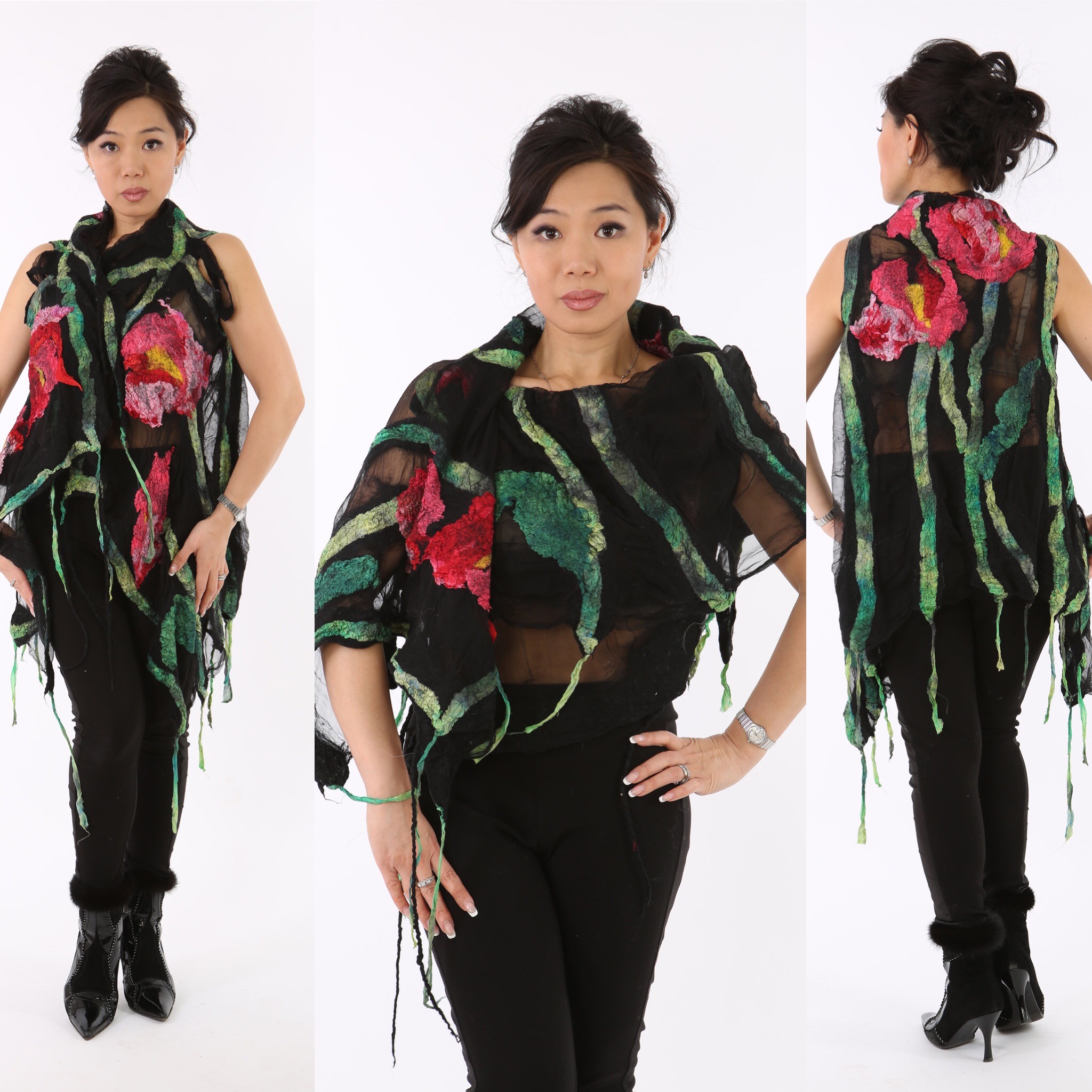 Black and Red Silk Vest