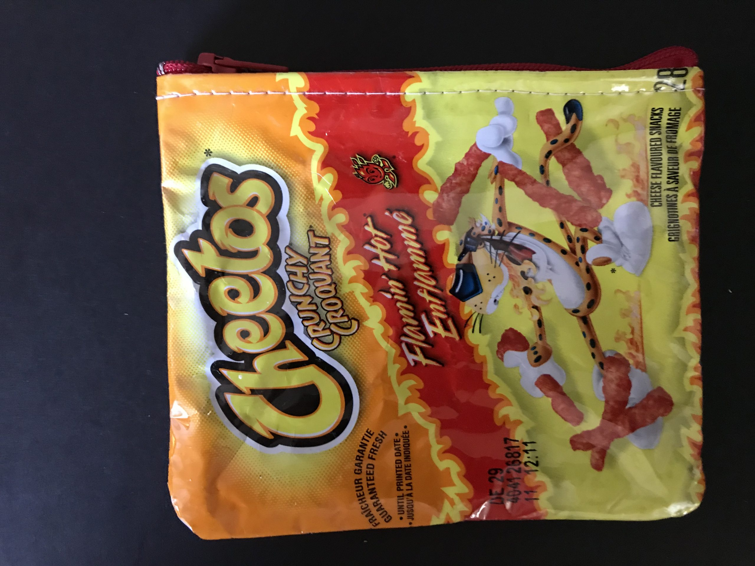 Free Shipping in Canada Upcycled Chip Bag Pouch Jalapeno Cheetos Crunchy Wallet Handmade Earbud Case