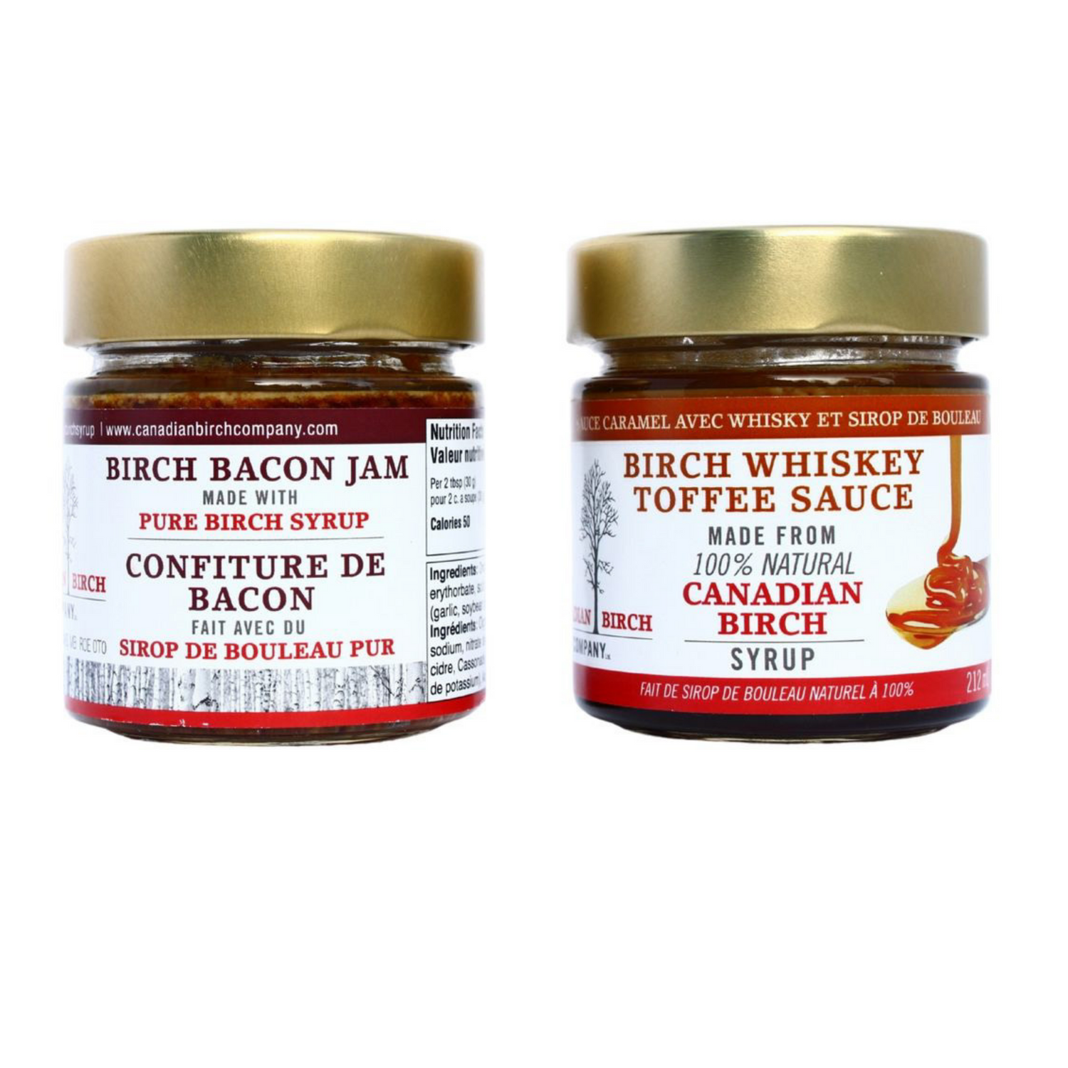 Pictured together, Birch Bacon jam and Birch Whiskey Toffee sauce in their signature jars with gold colored lids. Basic product shot against a white background