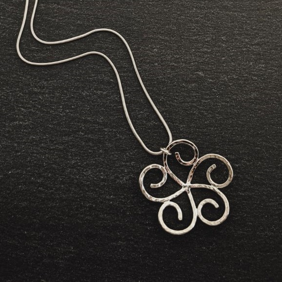 Sterling silver Swirl Flower - Large Pendant