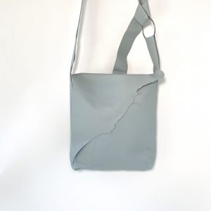 Baby blue pebble leather messenger bag