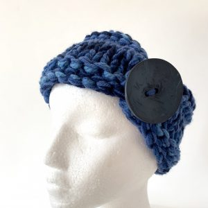 Variegated blued headband with blue button