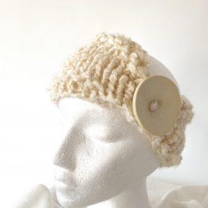 Cream Button headband