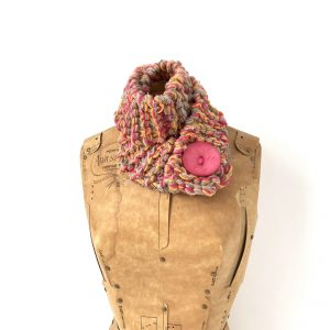 Taupe, pink, orange scarf with pink button