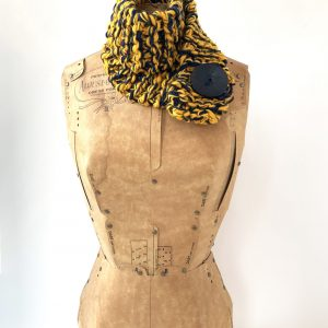 Gold and navy scarf with navy button