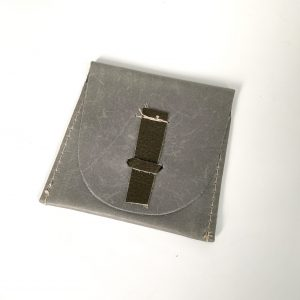 Grey leather pouch with custom leather closure