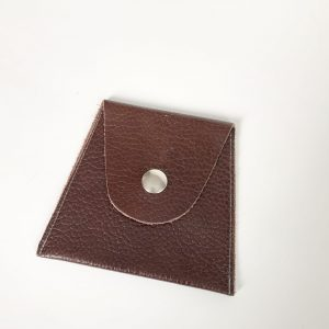 Brown pebble leather pouch snap closure